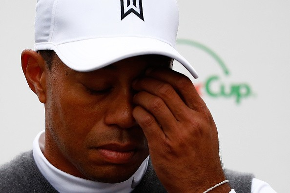 Tiger Woods speaks with the media after finishing 11 over-par for a total of 13 over-par after his second round of the Waste Management Phoenix Open at TPC Scottsdale on January 30, 2015 in Scottsdale, Arizona.