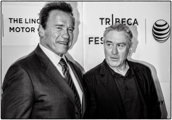 Arnold Schwarzenegger (L) and Tribeca Film Festival Co-founder Robert De Niro attend the premiere of 'Maggie' during the 2015 Tribeca Film Festival at BMCC Tribeca PAC on April 22, 2015 in New York City.