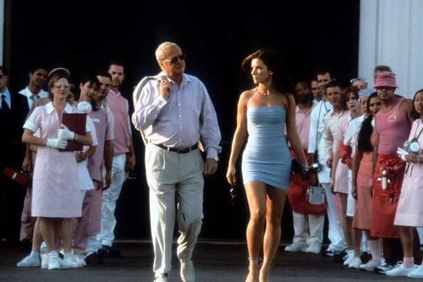 Michael Caine walks with Sandra Bullock in a scene from the film 'Miss Congeniality', 2000.