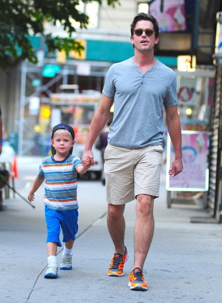 Matt Bomer (R) and his son Kit sighting in SoHo on the streets of Manhattan on August 13, 2012 in New York City.