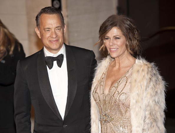Tom Hanks and Rita Wilson arrives at the Bafta after party held at the Grosvenor Hotel, Park Lane on February 16, 2014 in London, England.