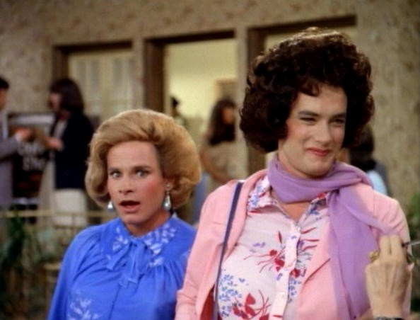 American actors Peter Scolari (left, as Hilde Desmond) and Tom Hanks (as Buffy Wilson) in a scene from the pilot episode of the television comedy series 'Bosom Buddies,' Los Angeles, California, November 27, 1980