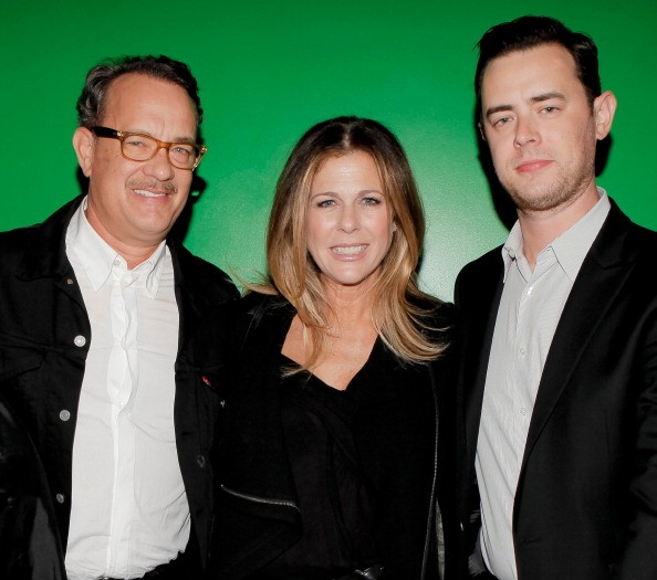 Tom Hanks, Rita Wilson and Colin Hanks attend the Celebrity Autobiography show at ACME Comedy Theatre on October 14, 2012 in Los Angeles, California