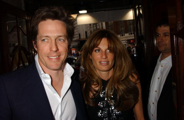 Hugh Grant and Jemima Khan arrive at the Opening Night and World Premiere of 'Billy Elliot: The Musical' at the Victoria Palace Theatre on May 12, 2005 in London. Tim Healy stars as Elliot's father in Lee Hall's major new stage adaptation of the film, directed by Stephen Daldry (as per the original movie) and with music by Sir Elton John.