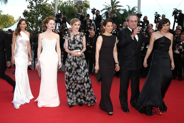 CANNES, FRANCE - MAY 18: (L-R) Hilary Swank, Miranda Otto, Sonja Richter, Dawn Laurel-Jones, Tommy Lee Jones and Victoria Jones attend 'The Homesman' premiere during the 67th Annual Cannes Film Festival on May 18, 2014 in Cannes, France