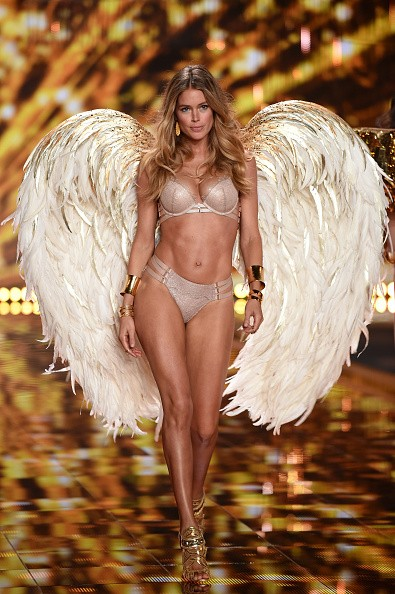Model Doutzen Kroes walks the runway during the 2014 Victoria's Secret Fashion Show at Earl's Court Exhibition Centre on December 2, 2014 in London, England.