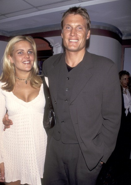 Actor Dolph Lundgren and wife Anette Qviberg attend the 'Johnny Mnemonic' New York City Premiere on May 22, 1995 at Sony 19th Street Theater in New York City, New York.