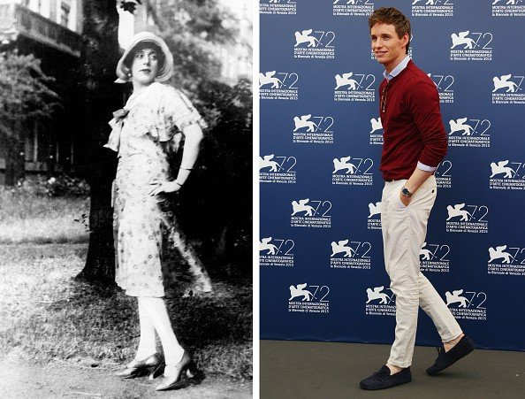In this composite image a comparison has been made between Lili Elbe (L) and actor Eddie Redmayne. Actor Eddie Redmayne will play Lili Elbe in a film biopic 'A Danish Girl' directed by Tom Hooper. ***LEFT IMAGE*** (GERMANY OUT) LILI ELBE (1886-1931). The first known recipient of sexual reassignment surgery. (Photo by ullstein bild/ullstein bild via Getty Images) **RIGHT IMAGE*** VENICE, ITALY - SEPTEMBER 05: Actor Eddie Redmayne attends a photocall for 'The Danish Girl' during the 72nd Venice Film Festival at Palazzo del Casino on September 5, 2015 in Venice, Italy.