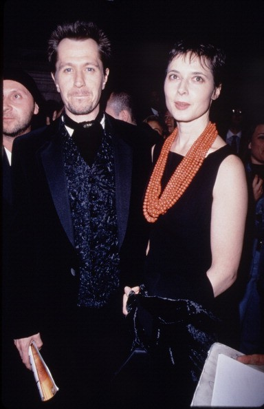 Actors Gary Oldman and Isabella Rossellini leave Carnegie Hall in New York after a concert for the benefit of the Rainforest Foundation International, 13th April 1995.