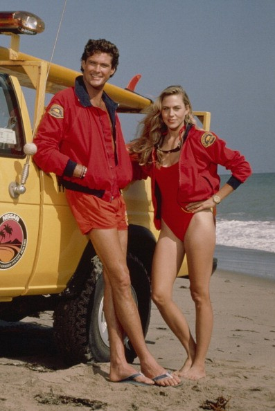 David Hasselhoff as Lt. Mitch Buchannon, Shawn Weatherly as Jill Riley