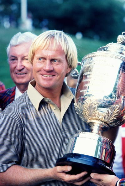 Jack Nicklaus of the USA poses with the trophy after his victory at the USPGA held in August 1980 at the Oak Hill Country Club, in Rochester, New York, USA.