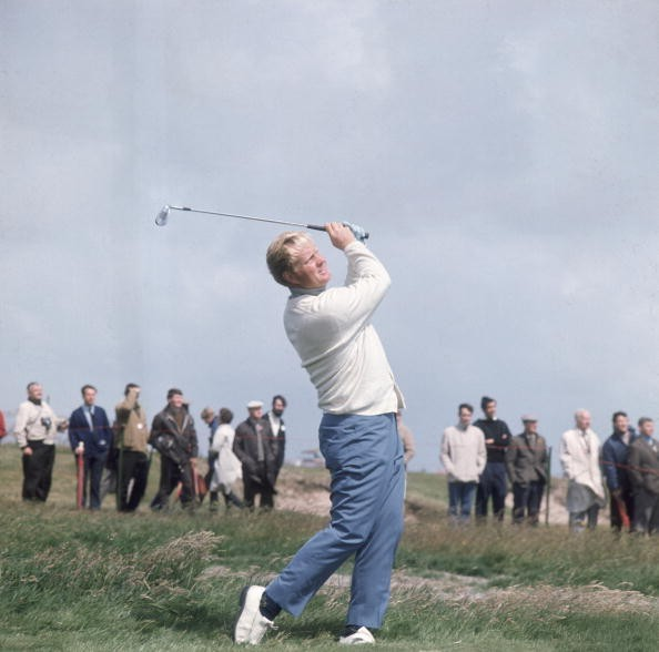 American golfer Jack Nicklaus takes a swing during the Open Golf Championship at Royal Lytham & St Annes in Lancashire, 1969.