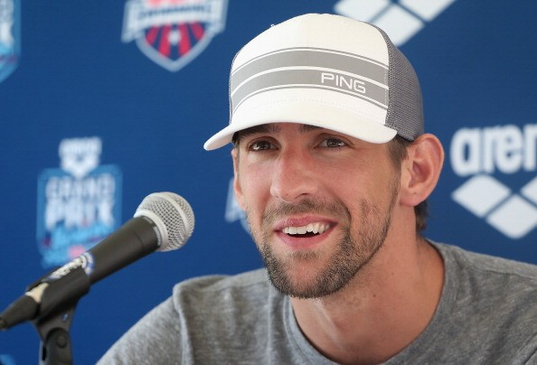 Michael Phelps speaks at a press conference after competing in the Men's 50m Freestyle prelim during day two of the Arena Grand Prix at the Skyline Aquatic Center on April 25, 2014 in Mesa, Arizona.