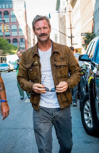 Aaron Eckhart is seen on October 07, 2015 in New York City.
