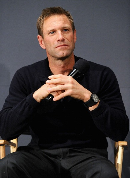 Actor Aaron Eckhart visits the Apple Store Soho on March 10, 2011 in New York City.