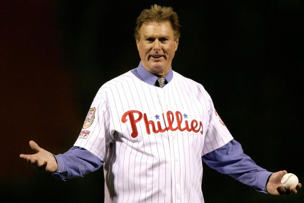 Steve Carlton throws out the first pitch before the Philadelphia Phillies take on the Tampa Bay Rays during game three of the 2008 MLB World Series on October 25, 2008 at Citizens Bank Park in Philadelphia, Pennsylvania.
