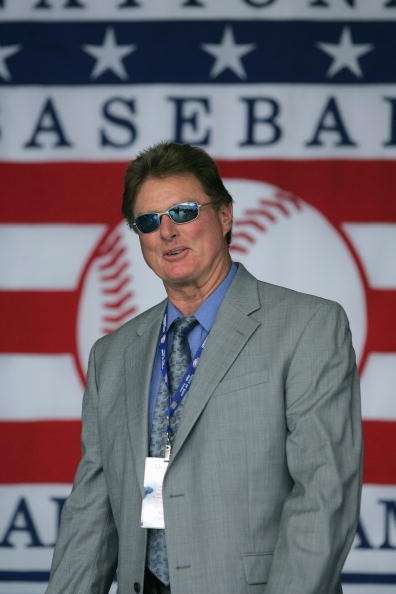 Hall of Famer Steve Carlton attends the Baseball Hall of Fame Induction ceremony on July 31, 2005 at the Clark Sports Complex in Cooperstown, New York.