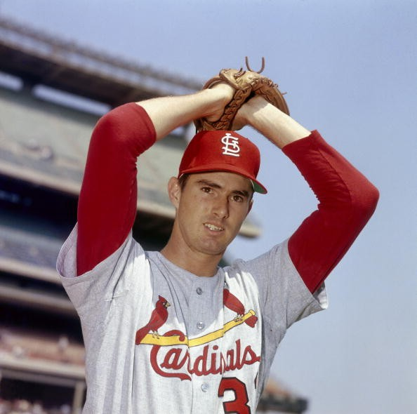 Steve Carlton #32 f the St. Louis Cardinals poses for a portrait circa 1970.
