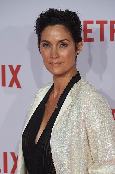 Caption:MADRID, SPAIN - OCTOBER 20: Actress Carrie-Anne Moss attends the red carpet of Netflix presentation at the Matadero Cultural center on October 20, 2015 in Madrid, Spain. (Photo by Carlos Alvarez/Getty Images)