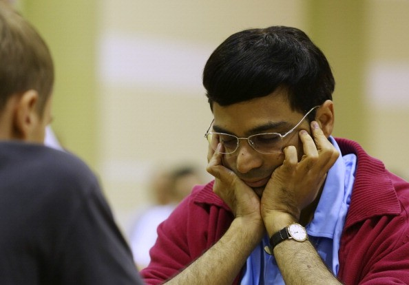 Viswanathan Anand of India plays in the FIDE World Rapid & Blitz Chess Championships 2014 at Dubai Chess and Culture Club on June 19, 2014 in Dubai, United Arab Emirates.