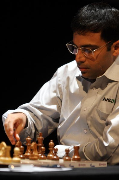 Indian chess world champion Viswanathan Anand concentrates during his match against the Russian chess grandmaster Vladimir Kramnik on October 17, 2008 in Bonn, Germany.