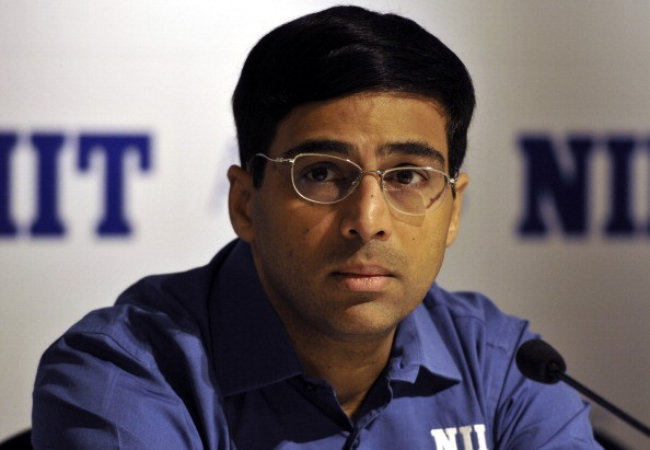 Five-time Indian World Chess Champion and National Institute of Information Technology (NIIT) Mind Champion Viswanathan Anand address media persons during a business conference Program in business analytics on April 16, 2014 in New Delhi, India. Anand discussed the advantages of chess in advancing analytics relevant to business.