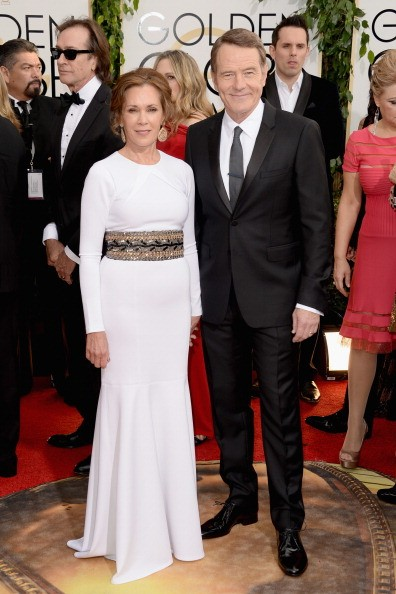 Actor Bryan Cranston (R) and wife Robin Dearden attend the 71st Annual Golden Globe Awards held at The Beverly Hilton Hotel on January 12, 2014 in Beverly Hills, California. (Photo by )