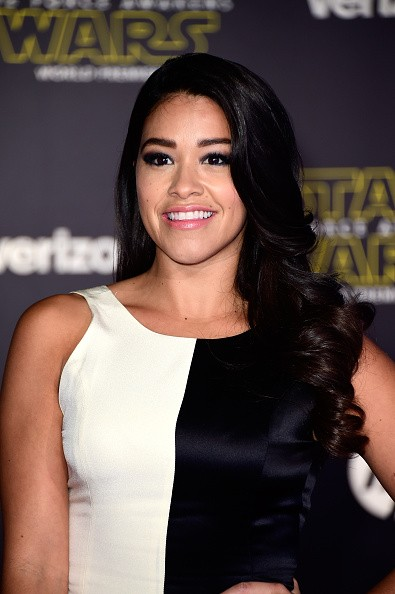 Caption:HOLLYWOOD, CA - DECEMBER 14: Actress Gina Rodriguez attends the premiere of Walt Disney Pictures and Lucasfilm's 'Star Wars: The Force Awakens' on December 14th, 2015 in Hollywood, California. (Photo by Frazer Harrison/Getty Images)