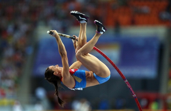 Elena Isinbaeva of Russia on her way to winning gold in the Women's Pole Vault during Day Four of the 14th IAAF World Athletics Championships Moscow 2013 at Luzhniki Stadium on August 13, 2013 in Moscow, Russia.