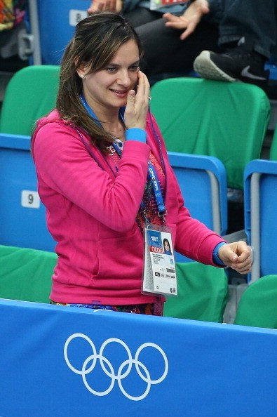 Yelena Isinbayeva attends the Short Track events on day 3 of the Sochi 2014 Winter Olympics at Iceberg Skating Palace on February 10, 2014 in Sochi, Russia.