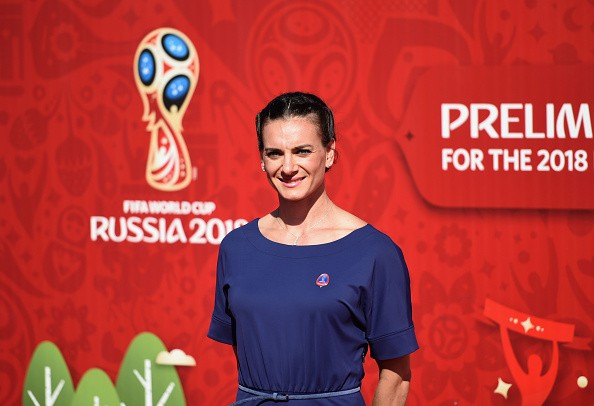 Yelena Isinbayeva attends the Preliminary Draw of the 2018 FIFA World Cup in Russia at The Konstantin Palace on July 25, 2015 in Saint Petersburg, Russia.