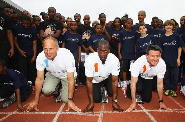 Laureus World Sports Academy Members Lord Sebastian Coe, Chairman of the London Organising Committee for the Olympic and Paralympic Games (LOCOG), American sprint star Michael Johnson and five times Olympic Golf Medal rower Sir Steve Redgrave teamed up today to launch a new partnership between the Laureus Sport for Good Foundation and Track Academy at Willesden Sports Centre on May 23, 2011 in London, England. Connie Henry, who won a Commonwealth Games Bronze medal in Kuala Lumpur in 1998, founded Track Academy in 2007.