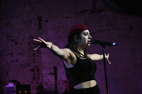 Caption:BROOKLYN, NY - OCTOBER 22: Singer-songwriter Charli XCX performs onstage during the Boohoo.com fete celebrating the Charli XCX collaboration at Villian on October 22, 2015 in Williamsburg, Brooklyn. (Photo by Bryan Bedder/Getty Images for boohoo)