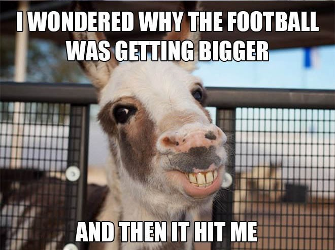 I WONDERED WHY THE FOOTBALL WAS GETTING BIGGER AND THEN IT HIT ME