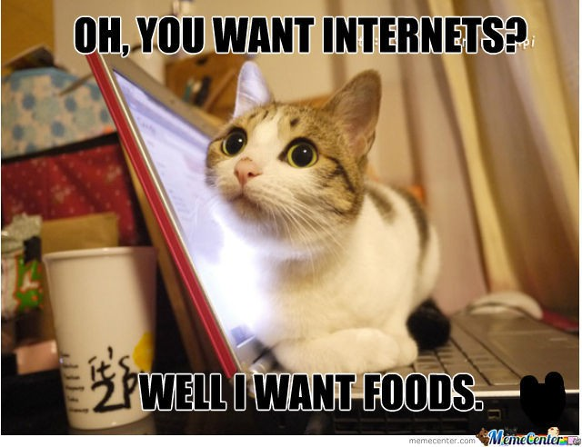Oh, You want internets? Well... I want Foods.