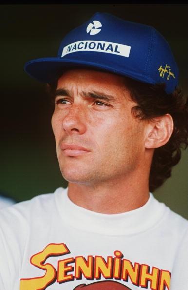 A portrait of three-time Formula One Champion Ayrton Senna of Brazil befor the 1994 Brazilian Grand Prix in Interlagos, Brazil.