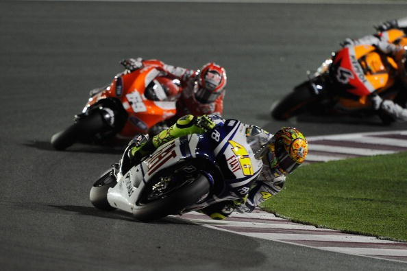 Valentino Rossi of Italy and Fiat Yamaha leads the field during the MotoGP of Qatar at the Losail Circuit on April 11, 2010 in Doha, Qatar.