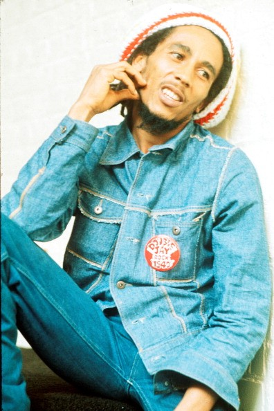 Jamaican reggae singer-songwriter and musician Bob Marley (1945 - 1981) at the offices of Island Records, London, 24th July 1975.
