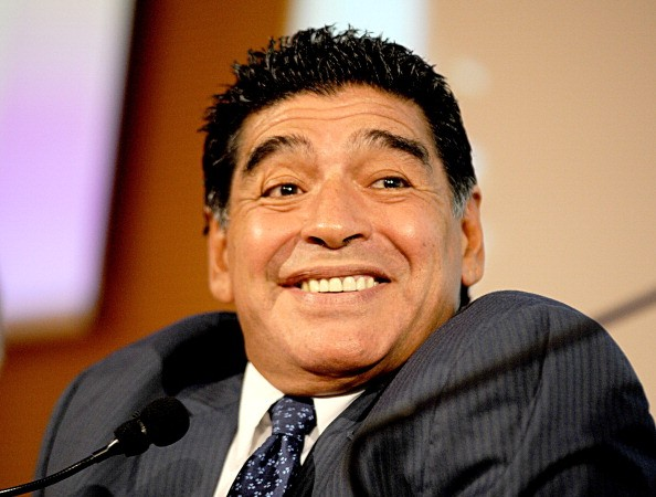 Diego Maradona presents latest DVD 'El Pibe Si Racconta A Gianni Mina' on October 17, 2013 in Milan, Italy.