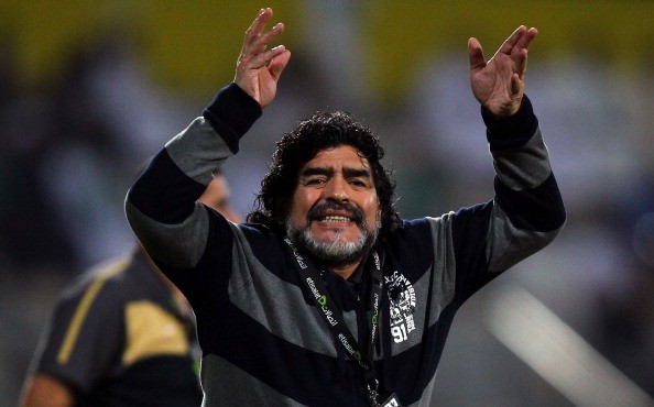Al Wasl manager, Diego Maradona reacts during the Etisalat League match between Al Wasl and Al Shabab at Zabeel Stadium on December 03, 2011 in Dubai, United Arab Emirates. (Photo by )