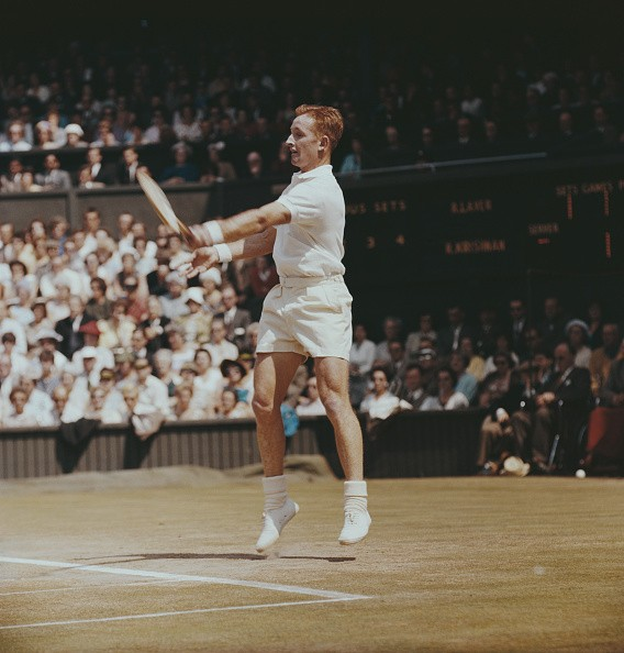 Australian tennis player Rod Laver pictured in action during his semi-final match with India's Ramanathan Krishnan at the Wimbledon Championships in July 1961.