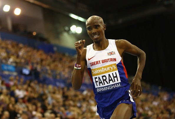 Mo Farah of Great Britain and Northern Ireland on his way to winning the Men's 2 Miles final during the Sainsbury's Indoor Grand Prix at Barclaycard Arena on February 21, 2015 in Birmingham, England. (Photo by )