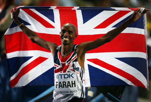 Mo Farah of Great Britain celebrates after winning the 5000m Final during Day Seven of the 14th IAAF World Athletics Championships Moscow 2013 at Luzhniki Stadium on August 16, 2013 in Moscow, Russia.