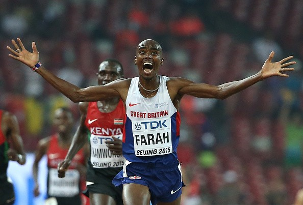 Mohamed Farah of Great Britain wins gold in the Men's 10000 metres final during day one of the 15th IAAF World Athletics Championships Beijing 2015 at Beijing National Stadium on August 22, 2015 in Beijing, China.