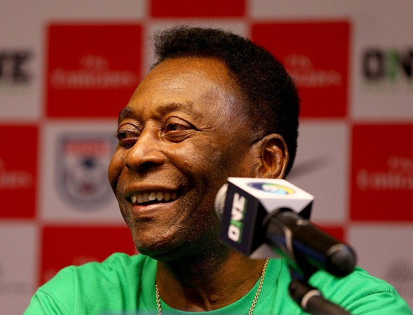 Pele answers questions during a press conference on June 1, 2015 in Havana, Cuba.The New York Cosmos will play Cuba in a friendly match on June 2,2015.