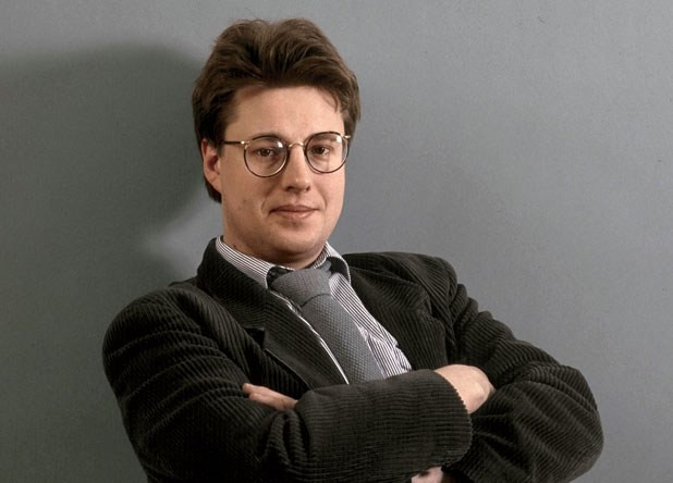 Stieg Larsson in the photo studio at TT, the Swedish news agency where he worked for 20 years, Stockholm, late 1980s.