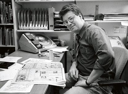 This photo depicts Stieg Larsson at his TT desk, in the late 1970s.