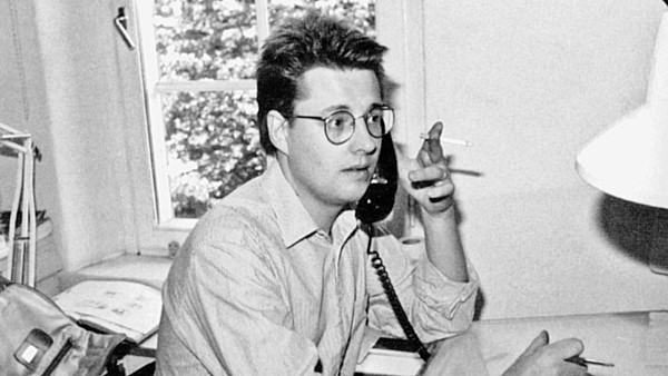 Stieg Larsson in 1984, when he worked as a graphic artist in the agency TT.