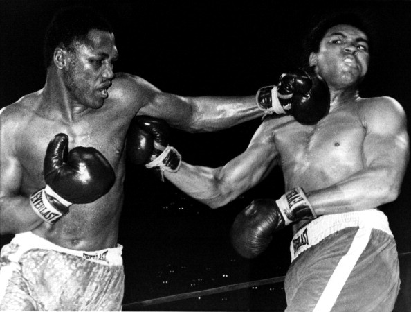 Joe Frazier lands a punch on Muhammad Ali during their heavyweigh fight in Madison Square Garden on March 8, 1971 in New York City. Frazier defeated Ali in 15 rounds.