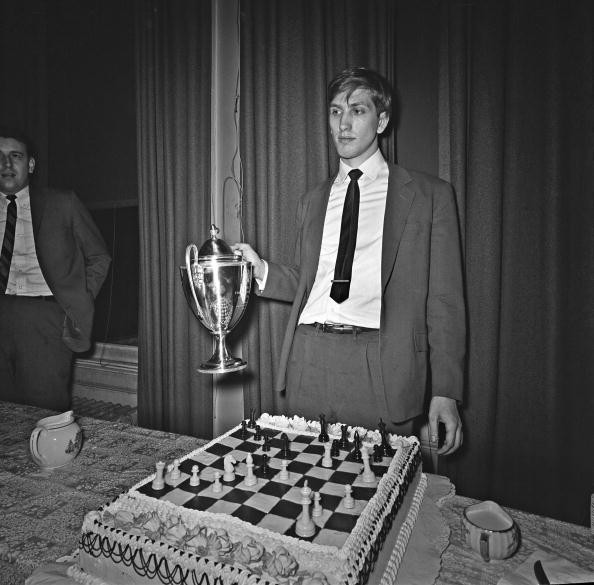 Bobby Fischer wins the Frank Marshall Tropy at the Marshall Chess Club on January 22 1964 in New York City, New York.